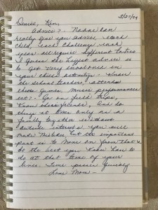advice for new moms written by my mom. The gift of a handwritten note by Denise M. Colby