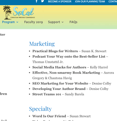 SoCal Christian Writers' Conference 2019 Marketing Workshops by Denise Colby or Denise M. Colby, SoCalCWC2019