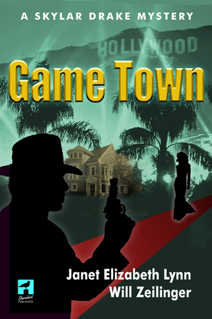 book cover of Game Town shows silhouette of man with gun and a woman in a long gown with palm trees in the backrougnd
