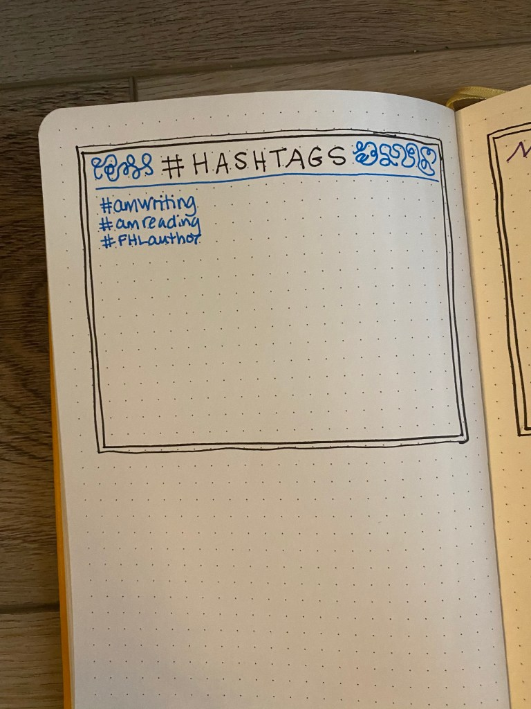 Bullet journal page with #hashtags on it