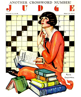a woman sitting in the middle of a pile of books with  a crossword puzzle behind her.