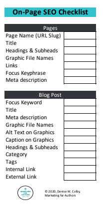 a checklist of SEO fields to complete for your blog by Denise M. Colby, Marketing for Authors