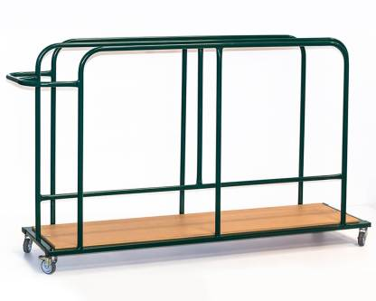 A steel trolley with wooden base, made for holding and transporting gymnastic safety mats vertically. pictured in green