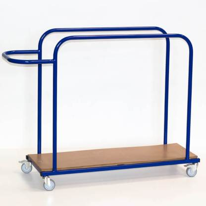A steel trolley with wooden base, made for holding and transporting small gymnastic safety mats vertically. pictured in blue