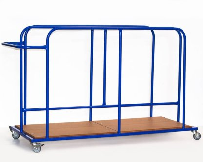 A steel trolley with wooden base, made for holding and transporting gymnastic safety mats vertically. pictured in blue