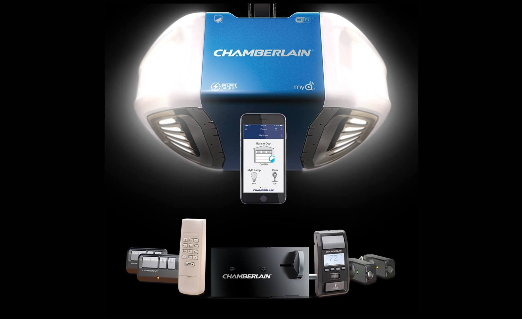 hight resolution of chamberlain ultimate security bundle increases garage security