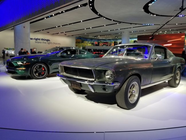 The Ford Bullitt, both original and 2019 model, at the Detroit Auto Show