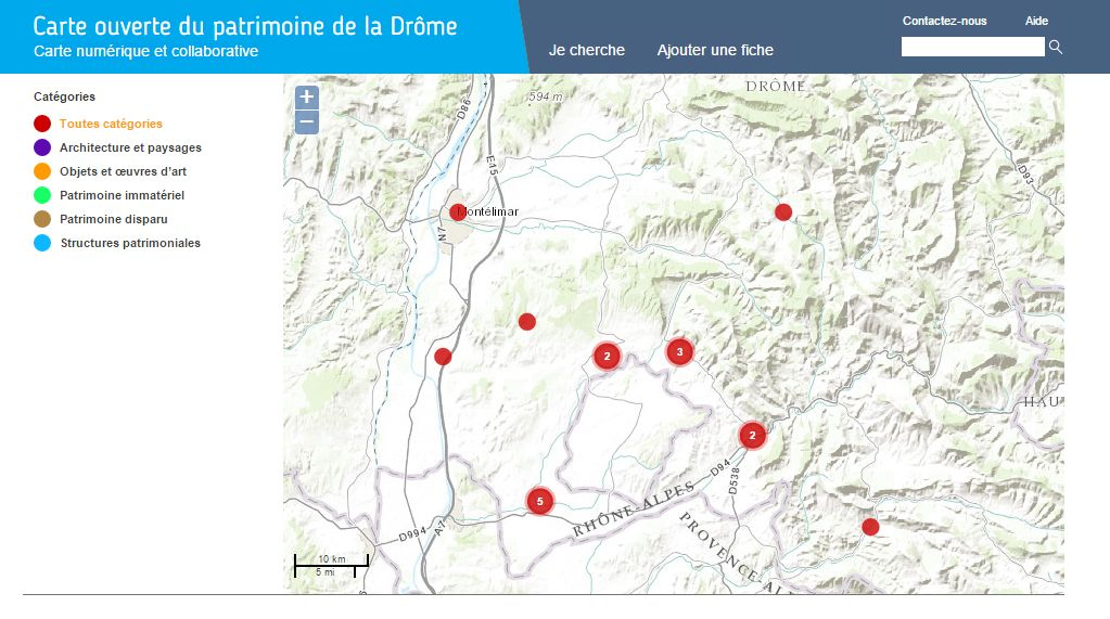 Carte ouverte du patrimoine de la Drôme