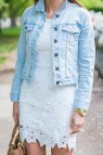 White Crochet Dress Denim Jacket Southern Drawl