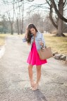 Pink Skater Dress with Jean Jacket
