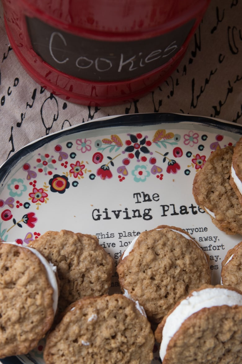 homemade oatmeal cream pie cookies on the giving plate