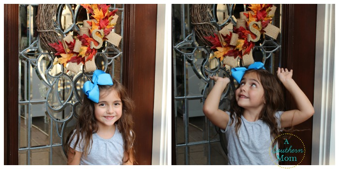 fall wreath with lizzie