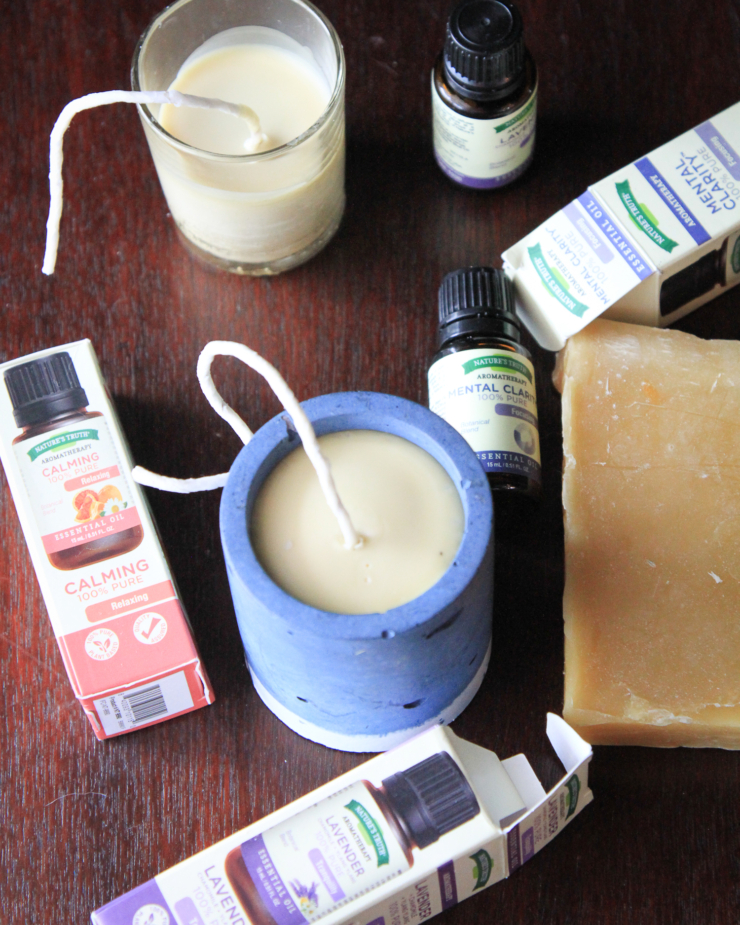 homemade candles with essential oils