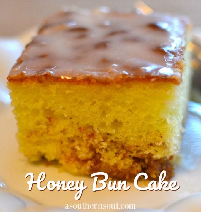 honey bun cake with brown sugar, cinnamon and a simple icing glaze