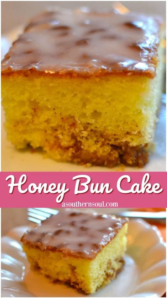 honey bun cake with cinnamon, brown sugar and a sweet glaze for dessert