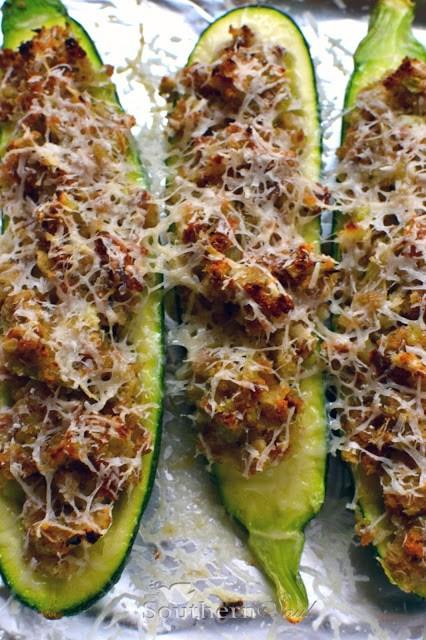 Southern Dressing Stuffed Zucchini
