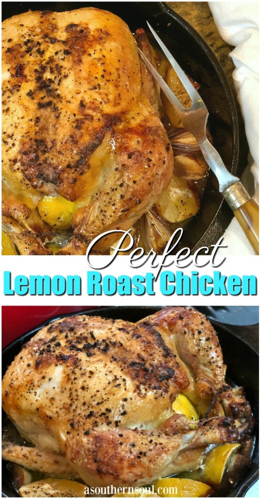 lemon roast chicken with onions and garlic in a casts iron skillet