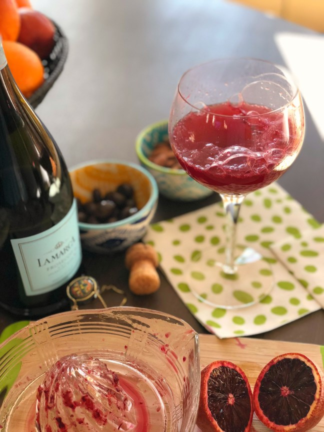 blood orange mimosas with processo