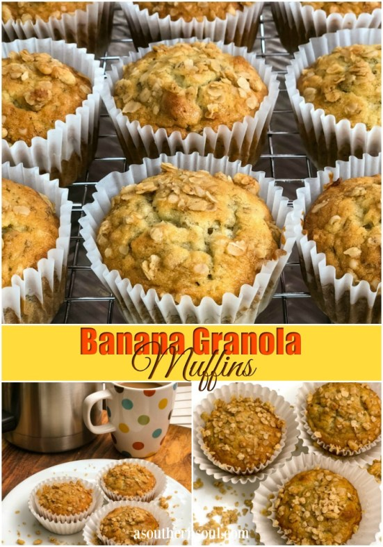 Banana granola muffins are soft and fully on the inside with an added crunch on the top.