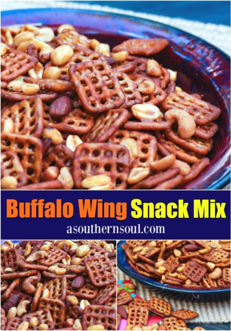 Pretzels and nuts tossed in butter and buffalo wing sauce are turned into a spicy, savory treat that great for game day snacking!