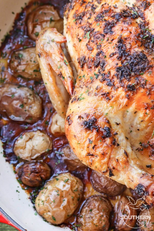 Herb butter with thyme, basil and oregano flavors a whole chicken roasted in the oven on a bed of new potatoes.