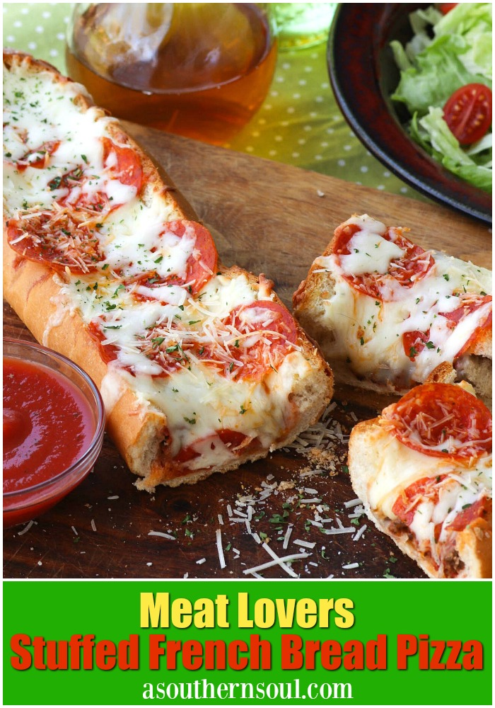 Meat Lovers Stuffed French Bread Pizza is easy to make and loaded with flavor. Hamburger and pepperoni along with two kinds of gooey cheese make this a recipe perfect for a weeknight meal or for game day!