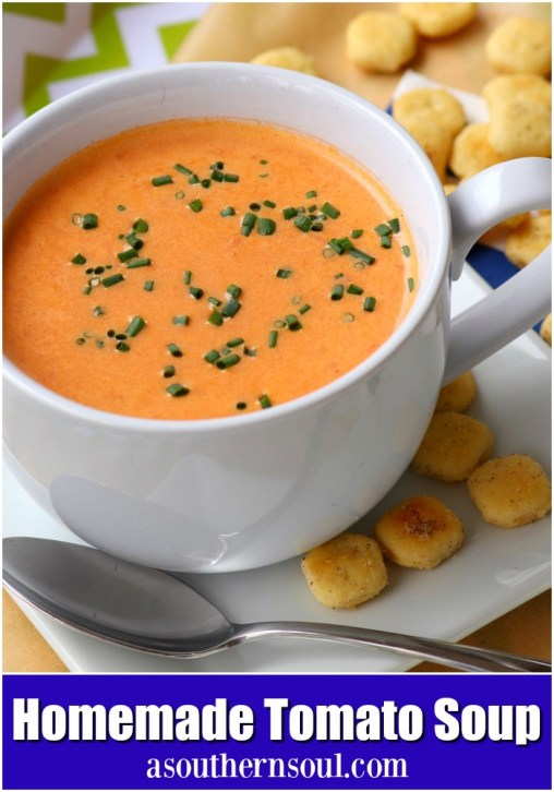 Tomatoes, onion and garlic, roasted to perfection then turned into a beautiful soup that's so easy to make.  One spoonful of this creamy, luscious soup and you'll be a fan for life!