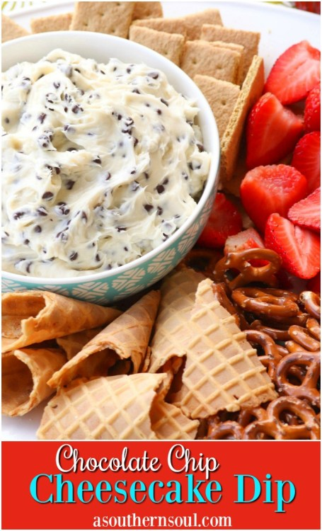 Chocolate Chips mixed with cream cheese, sugar and vanilla create a dip that tastes like a slice of bakery cheesecake! Serve with fresh fruit, pretzels, and cookies for a sweet treat everyone will love.