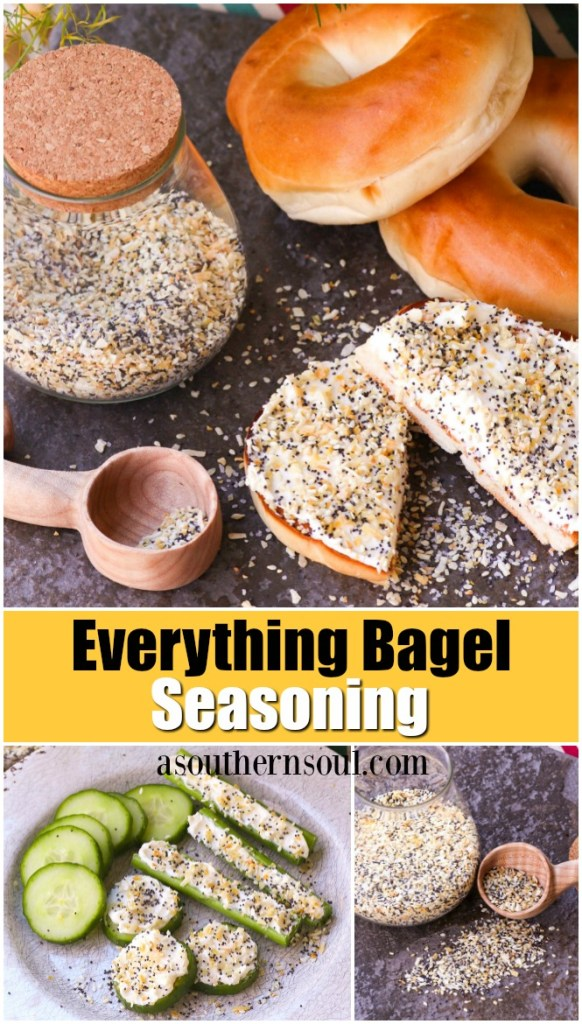 Everything bagel seasoning with garlic, onion, poppy and sesame seeds are combined to make a blend that's perfect to sprinkle on all your favorite foods!