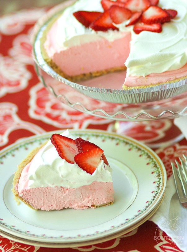 Strawberry Cream Pie made with fresh whipped cream and strawberry jello is an easy to make dessert that is cool and delicious. It's perfect for the holidays, potluck or covered dish suppers or a weeknight meal.