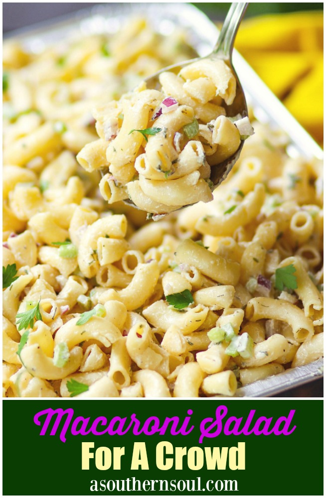 Macaroni Salad for a crowd is an easy to make recipe for potlucks, covered dish suppers and when you're entertaining. With celery, onion and a simple dressing it's always a crowd pleaser.