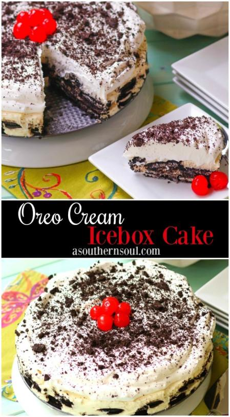 Oreo Cream Icebox Cake made with chocolate cream filled cookies, cream cheese and whipped topping is an irresistible dessert that's easy to make!