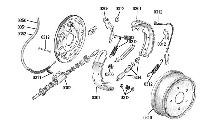 02 Drum brakes rear axle Wrangler Jeep, Wrangler, Cherokee