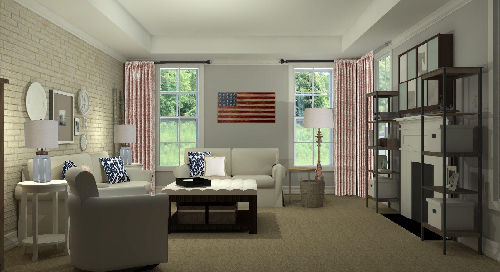 Rustic Transitional Living Room Design