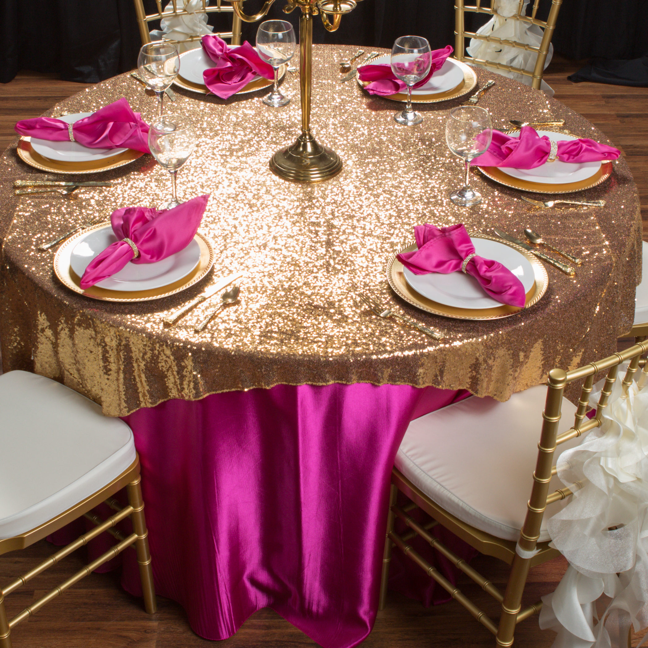 chair covers and tablecloth rentals how to make a bean bag gold sequin overlay party corporate events