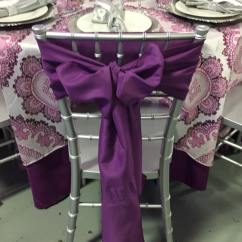 Chair Cover Rentals Jackson Ms Light Gray Velvet Accent Rental A S Party Folding Polyester Purple Sash
