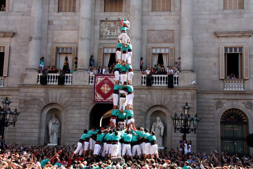 "Human towers, called ""castells"" in Barcelona"