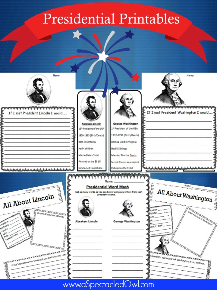 Free Presidential Printables – Plus 15 other great President's Day Resources
