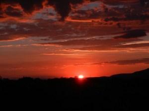 Blood red desert sunrise