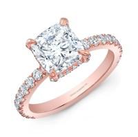 Cushion Cut Diamond Engagement Ring in 18K Rose Gold - Bridal