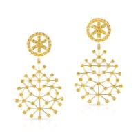 Yellow Diamond SnowFlake Earrings in 18K Yellow Gold