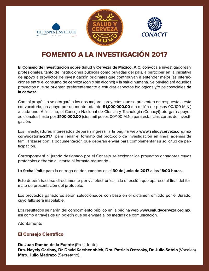 Convocatoria 2017 - Consejo de Investigación sobre Salud y Cerveza en México, A.C.