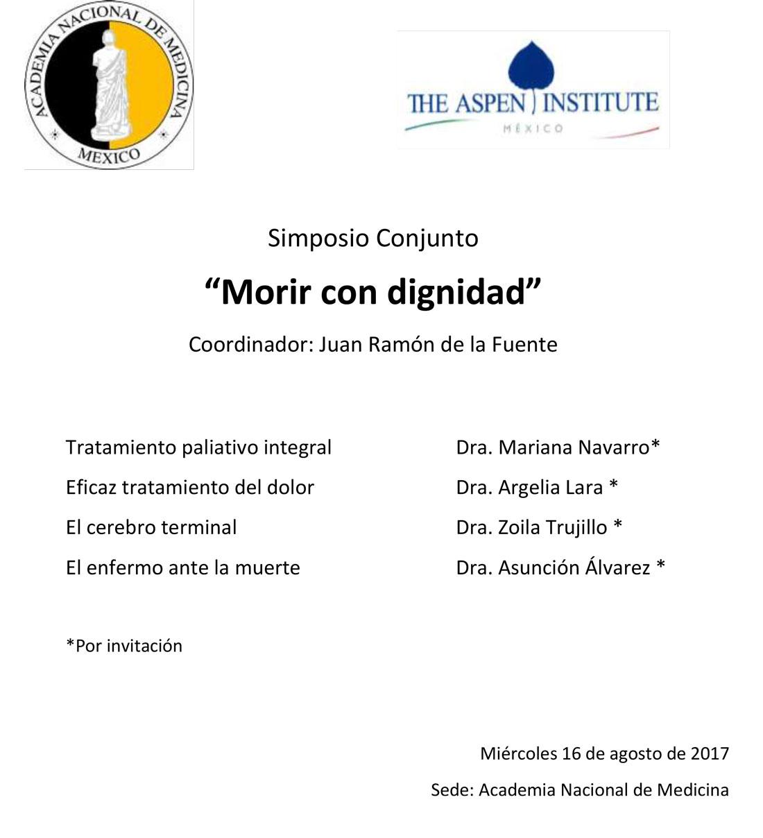 """Simposio Conjunto """"Morir con dignidad"""""""