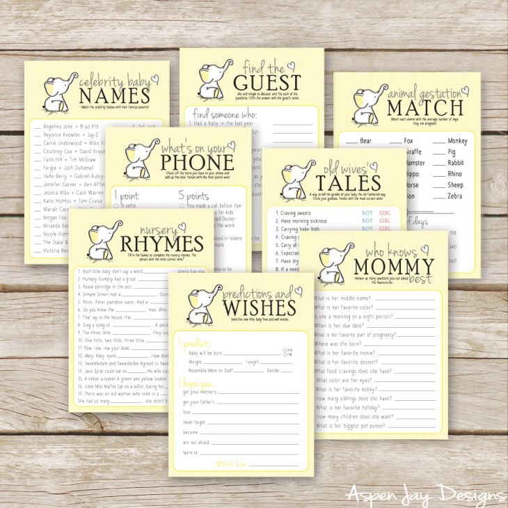 ... yellow elephant baby shower games