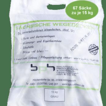 Sächsische Wegedecken Grau 1000 kg (15kg x 67 Säcke)