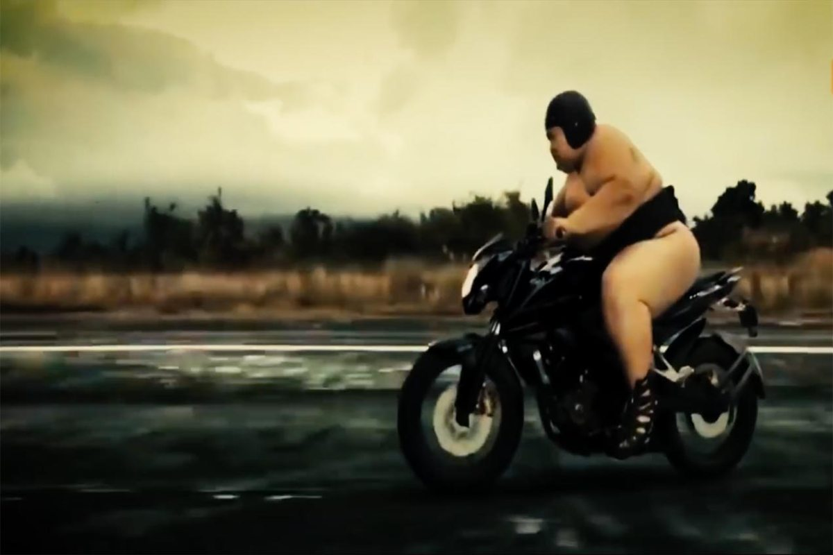Sumo Wrestlers Rippin' Dank Whoolies on Motorcycles