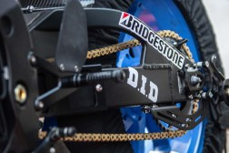 """Check out the beefy bracket for the rear stand, which doubles as a swingarm """"shark fin"""" protector."""