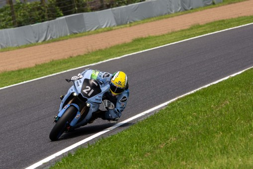 Alex Lowes is easy to spot with his King Kenny Roberts tribute helmet.