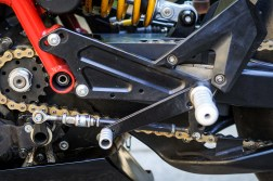 GP shift setup here, with up-shift quickshifter. You can see the bracket options for raising and lowering the rearsets, moving the footpeg, and toe-shift.