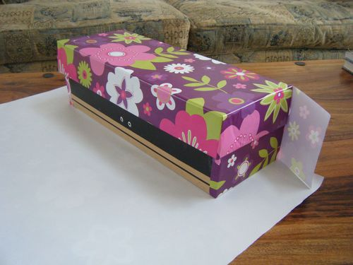 Partly paper covered box from a different angle